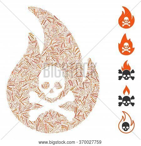 Dash Mosaic Based On Hell Fire Icon. Mosaic Vector Hell Fire Is Designed With Random Dash Spots. Bon