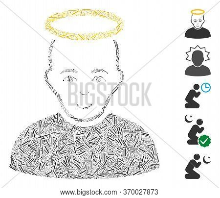 Line Mosaic Based On Holy Man Icon. Mosaic Vector Holy Man Is Composed With Scattered Line Items. Bo