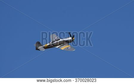 Little  Gransden,  Cambridgeshire, England - August 25, 2019:  Hawker Sea Fury  T 2.0 In Flight.
