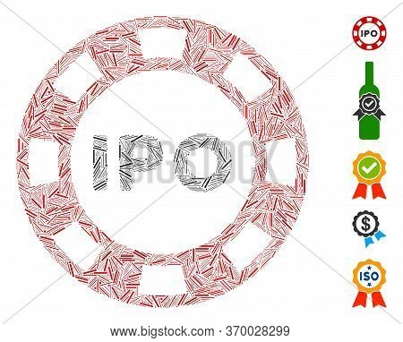 Dash Mosaic Based On Ipo Token Icon. Mosaic Vector Ipo Token Is Formed With Scattered Dash Elements.