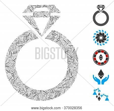 Dash Mosaic Based On Jewelry Ring Icon. Mosaic Vector Jewelry Ring Is Designed With Scattered Dash E