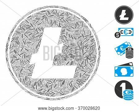 Dash Mosaic Based On Litecoin Coin Icon. Mosaic Vector Litecoin Coin Is Formed With Scattered Dash D