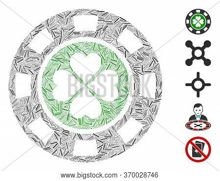 Dash Mosaic Based On Luck Casino Chip Icon. Mosaic Vector Luck Casino Chip Is Designed With Random L