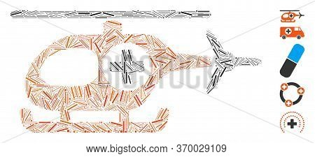 Line Mosaic Based On Medical Helicopter Icon. Mosaic Vector Medical Helicopter Is Composed With Rand