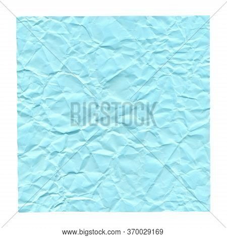 Crumpled Blue Paper. Background For Greetings, Invitations. Item For Scene Creator And Other Design.