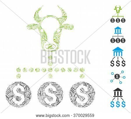 Hatch Mosaic Based On Money Cattle Relations Icon. Mosaic Vector Money Cattle Relations Is Created W
