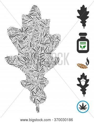 Hatch Mosaic Based On Oak Leaf Icon. Mosaic Vector Oak Leaf Is Composed With Random Hatch Items. Bon