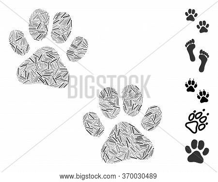 Hatch Mosaic Based On Paw Footprints Icon. Mosaic Vector Paw Footprints Is Composed With Randomized