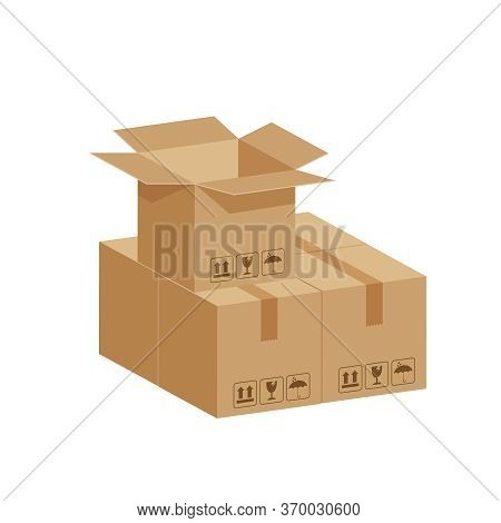 Stack Crate Boxes Brown And Box Open, Cardboard Box Isolated On White, Cardboard Parcel Boxes, Packa