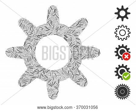 Line Mosaic Based On Pinion Icon. Mosaic Vector Pinion Is Composed With Scattered Line Spots. Bonus