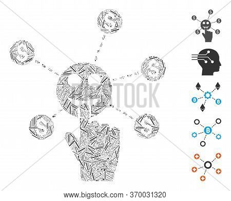 Dash Mosaic Based On Press Smile Banking Network Icon. Mosaic Vector Press Smile Banking Network Is