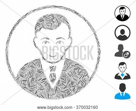 Hatch Mosaic Based On Rounded Gentleman Icon. Mosaic Vector Rounded Gentleman Is Designed With Rando