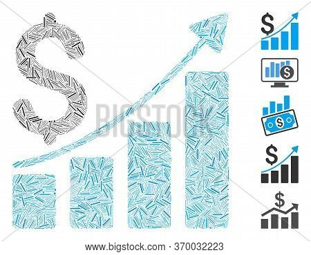 Line Mosaic Based On Sales Growth Chart Icon. Mosaic Vector Sales Growth Chart Is Composed With Rand
