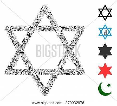Line Mosaic Based On Star Of David Icon. Mosaic Vector Star Of David Is Designed With Randomized Lin