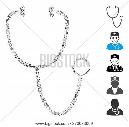 Line Mosaic Based On Stethoscope Icon. Mosaic Vector Stethoscope Is Created With Randomized Line Ele