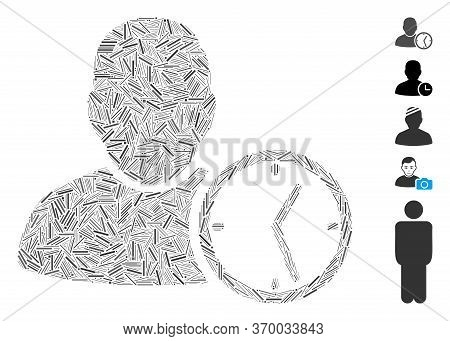 Line Mosaic Based On User Temporary Clock Icon. Mosaic Vector User Temporary Clock Is Created With R