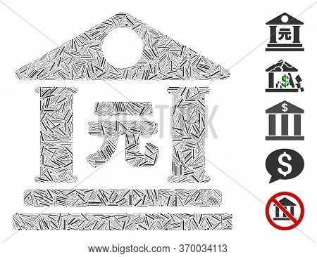 Dash Mosaic Based On Yuan Bank Building Icon. Mosaic Vector Yuan Bank Building Is Formed With Random