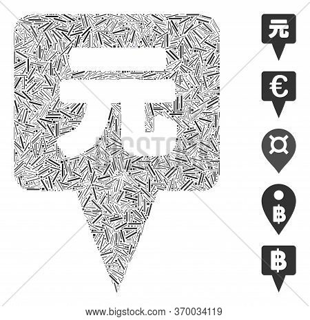 Line Mosaic Based On Yuan Map Pointer Icon. Mosaic Vector Yuan Map Pointer Is Composed With Random L
