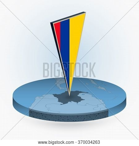 Colombia Map In Round Isometric Style With Triangular 3d Flag Of Colombia, Vector Map In Blue Color.