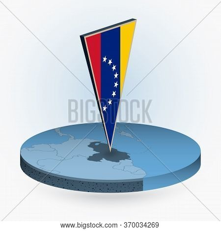 Venezuela Map In Round Isometric Style With Triangular 3d Flag Of Venezuela, Vector Map In Blue Colo
