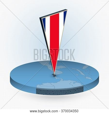 Costa Rica Map In Round Isometric Style With Triangular 3d Flag Of Costa Rica, Vector Map In Blue Co