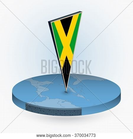 Jamaica Map In Round Isometric Style With Triangular 3d Flag Of Jamaica, Vector Map In Blue Color.