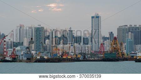 To Kwa Wan, Hong kong 15 April 2020: Hong Kong city at evening time