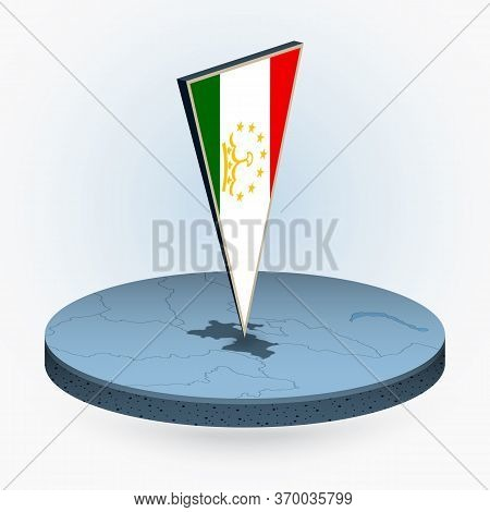 Tajikistan Map In Round Isometric Style With Triangular 3d Flag Of Tajikistan, Vector Map In Blue Co