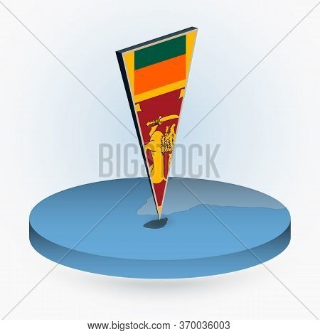 Sri Lanka Map In Round Isometric Style With Triangular 3d Flag Of Sri Lanka, Vector Map In Blue Colo