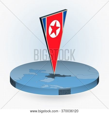 North Korea Map In Round Isometric Style With Triangular 3d Flag Of North Korea, Vector Map In Blue