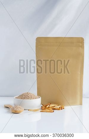 Bamboo Worm Powder. Bamboo Caterpillar Flour Insects For Eating As Food Edible Made Of Insect Meat I