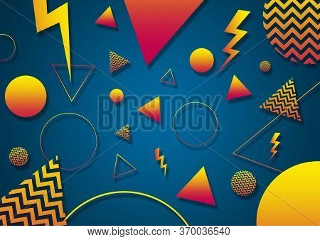 A Turquoise, Orange And Yellow Retro Vaporwave 90's Style Random Geometric Shapes With Vibrant Neon