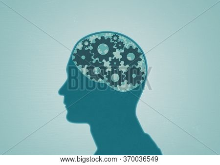 An Androgynous Unisex Human Head With Cog Elements Representing Mental Health, Psychological, Psychi