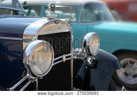 Ratzeburg, Germany - June 3, 2019: Historic Opel, Headlights  And Grille Of The Classic Automobile,