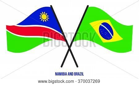 Namibia And Brazil Flags Crossed And Waving Flat Style. Official Proportion. Correct Colors