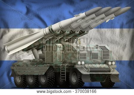 Tactical Short Range Ballistic Missile With Arctic Camouflage On The Nicaragua Flag Background. 3d I