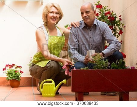 Smiling Aged Woman With Horticultural Sundry And Elderly Man In Patio.