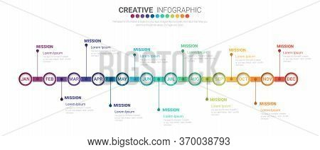 Timeline For 1 Year, 12 Months, Infographics Month Planner Design Vector 12 Steps And Presentation B