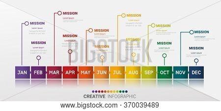 Timeline Presentation For 12 Months, 1 Year, Timeline Infographics Design Vector And Presentation Bu