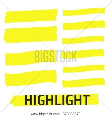 Highlight Yellow Marker Vector Set. Highlight Yellow Marker Isolated Background. Highlight Yellow Ma