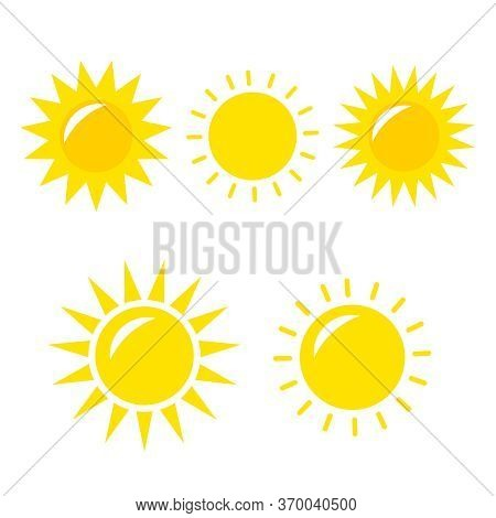 Sun Vector Icon. Sun Vector Doodle Illustration. Sun Vector Icon Yellow Set