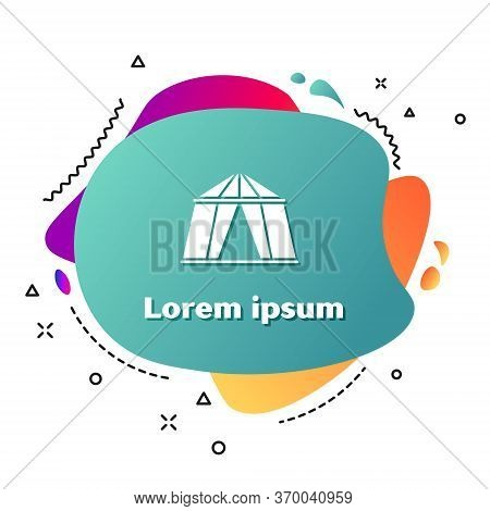 White Circus Tent Icon Isolated On White Background. Carnival Camping Tent. Amusement Park. Abstract