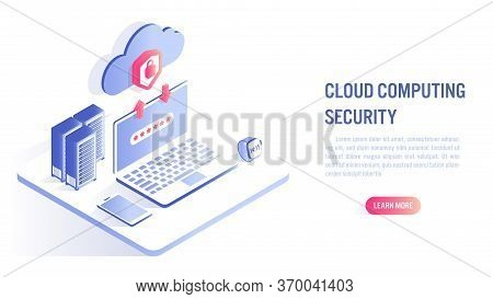 Cloud Computing Security Concept. Data Protected Exchange On Device And Online Storage. Cloud Techno