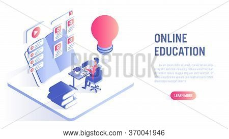 Online Education Concept. Student Character Study At Computer With Online Course. Isometric Flat Vec