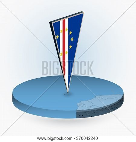Cape Verde Map In Round Isometric Style With Triangular 3d Flag Of Cape Verde, Vector Map In Blue Co