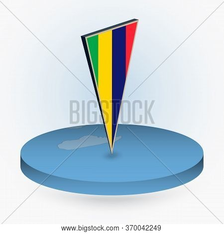 Mauritius Map In Round Isometric Style With Triangular 3d Flag Of Mauritius, Vector Map In Blue Colo