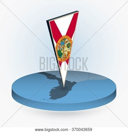 Florida Map In Round Isometric Style With Triangular 3d Flag Of Us State Florida, Vector Map In Blue