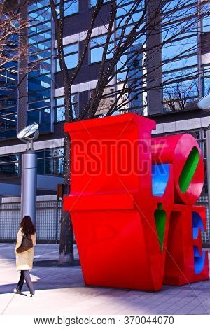 Tokyo, Japan - Feb 20,2010 : Love Sculpture In Tokyo, Japan. The Sculpture Was Made Of Polychrome (p