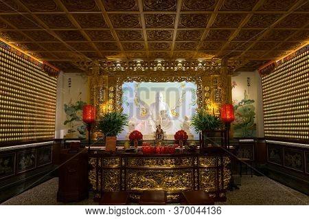 Sun Moon Lake, Taiwan- November 15, 2019: Inside Of Wen Wu Temple At Sun Moon Lake, In Yuchi Townshi