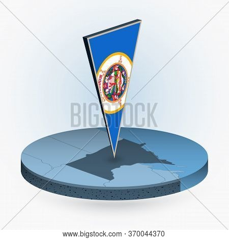 Minnesota Map In Round Isometric Style With Triangular 3d Flag Of Us State Minnesota, Vector Map In